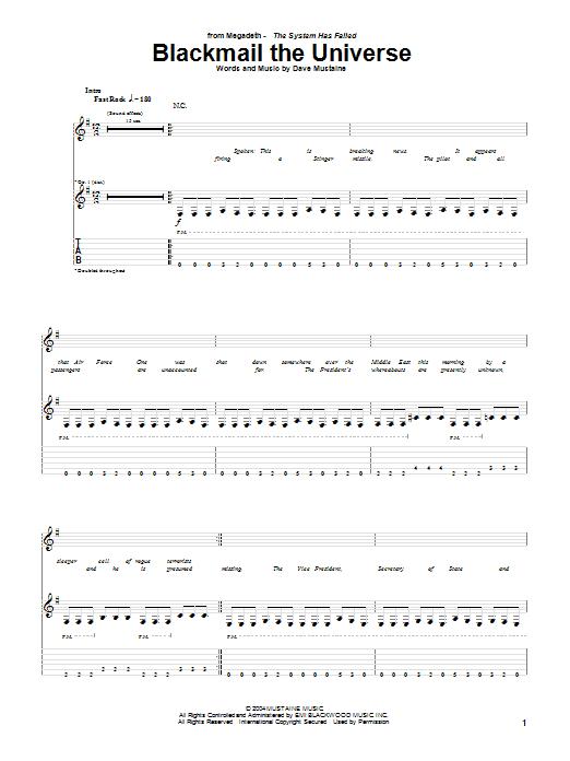Tablature guitare Blackmail The Universe de Megadeth - Tablature Guitare