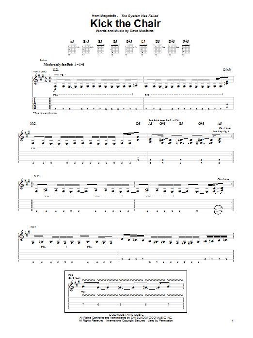 Tablature guitare Kick The Chair de Megadeth - Tablature Guitare