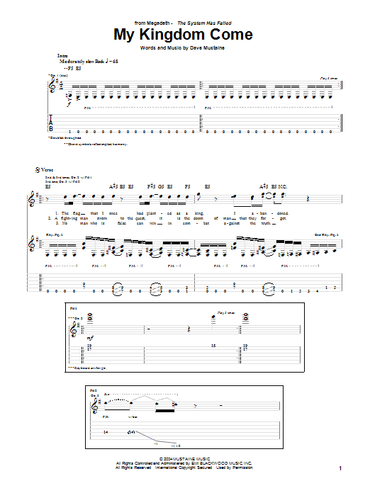 Tablature guitare My Kingdom Come de Megadeth - Tablature Guitare