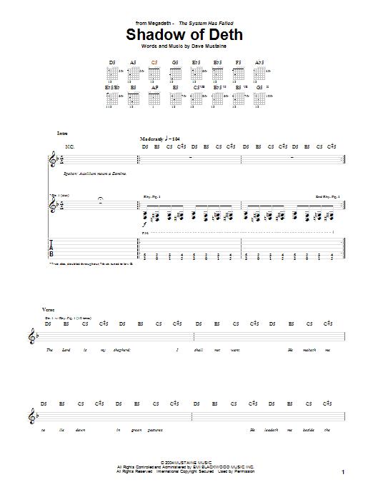 Tablature guitare Shadow Of Deth de Megadeth - Tablature Guitare