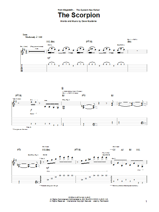 Tablature guitare The Scorpion de Megadeth - Tablature Guitare