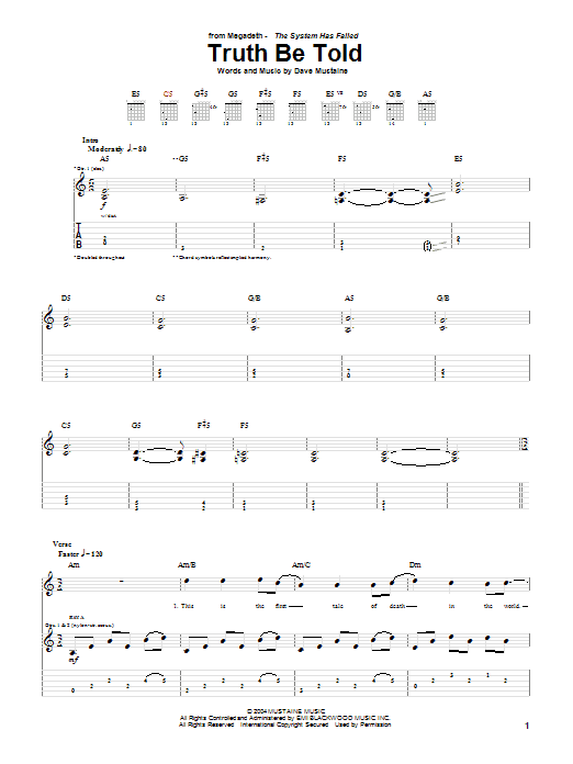 Tablature guitare Truth Be Told de Megadeth - Tablature Guitare