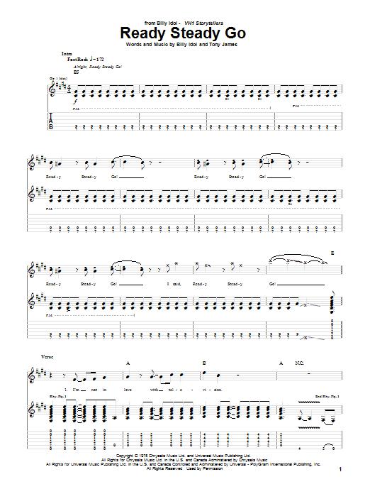 Tablature guitare Ready Steady Go de Billy Idol - Tablature Guitare