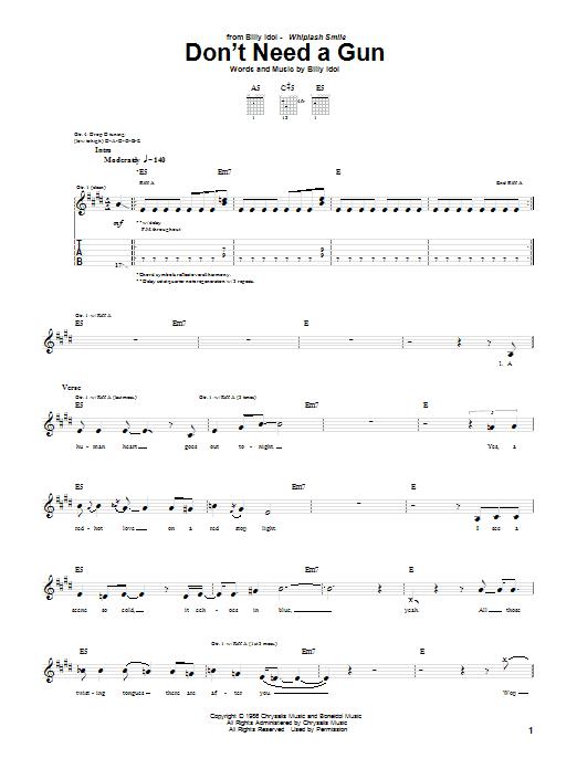 Tablature guitare Don't Need A Gun de Billy Idol - Tablature Guitare