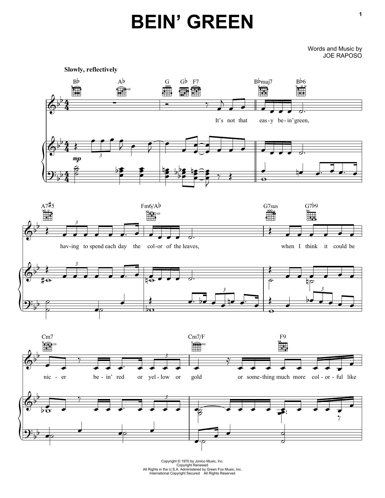 Bein' Green sheet music for voice, piano or guitar by Joe Raposo