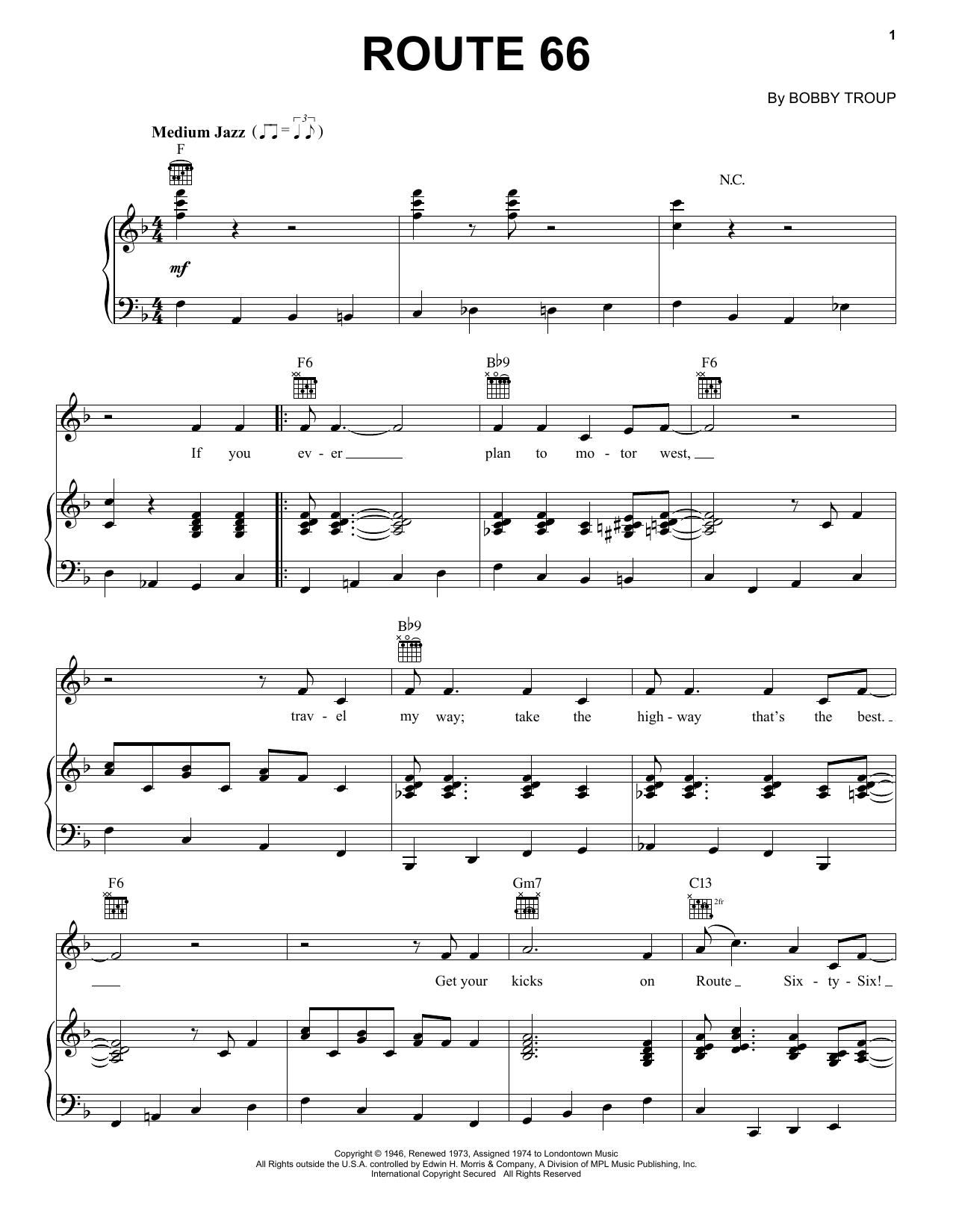 Partition piano Route 66 de Manhattan Transfer - Piano Voix Guitare (Mélodie Main Droite)