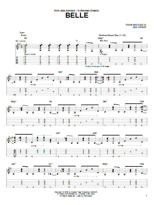 Belle Guitar Tab by Jack Johnson (Guitar Tab u2013 51667)