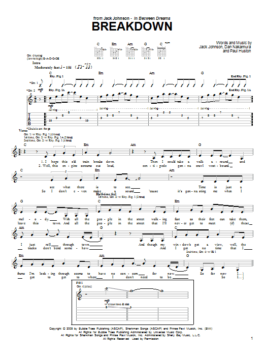 Tablature guitare Breakdown de Jack Johnson - Tablature Guitare