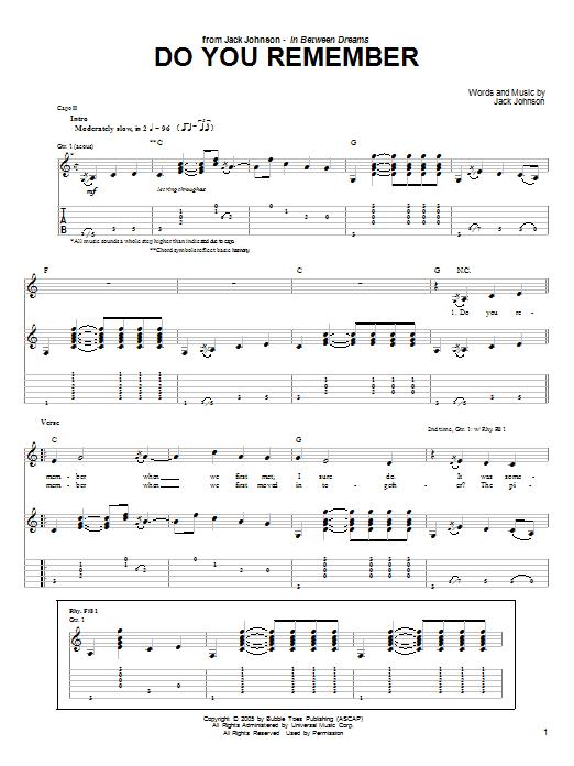 Tablature guitare Do You Remember de Jack Johnson - Tablature Guitare