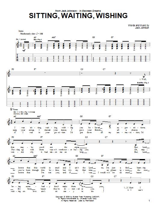 Tablature guitare Sitting, Waiting, Wishing de Jack Johnson - Tablature Guitare