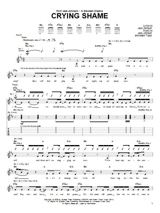 Tablature guitare Crying Shame de Jack Johnson - Tablature Guitare