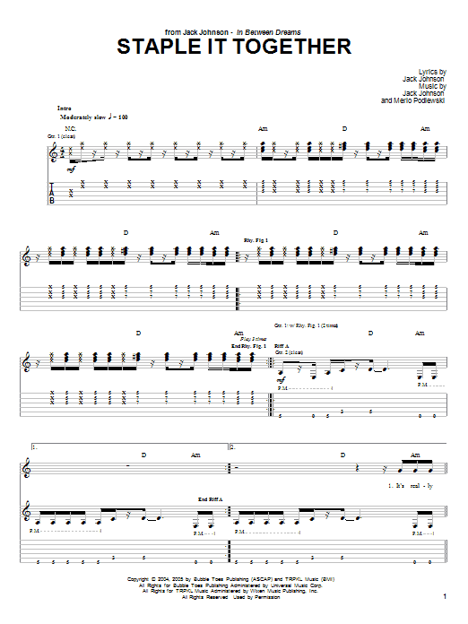 Tablature guitare Staple It Together de Jack Johnson - Tablature Guitare