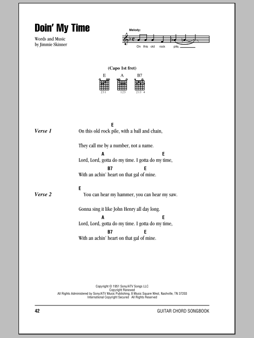 Doin' My Time sheet music for guitar solo (chords, lyrics, melody) by Jimmie Skinner