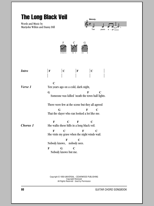 The Long Black Veil sheet music for guitar solo (chords, lyrics, melody) by Marijohn Wilkin