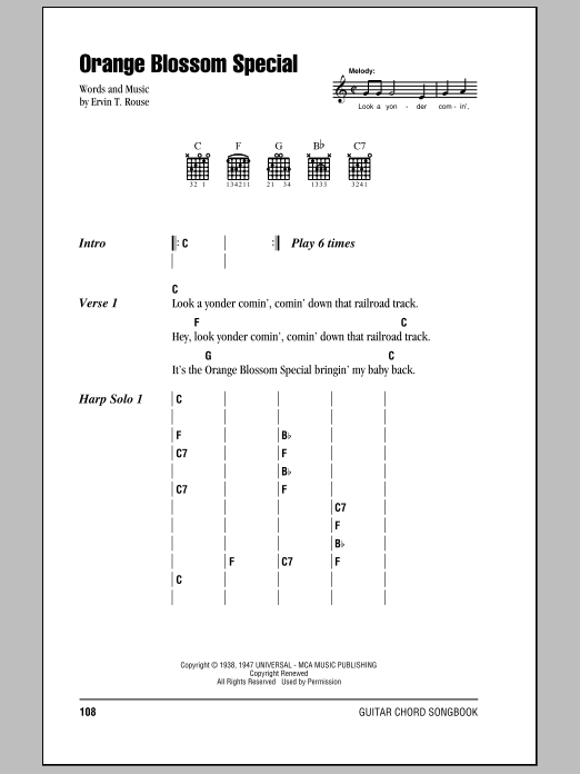 Orange Blossom Special sheet music for guitar solo (chords, lyrics, melody) by Ervin T. Rouse