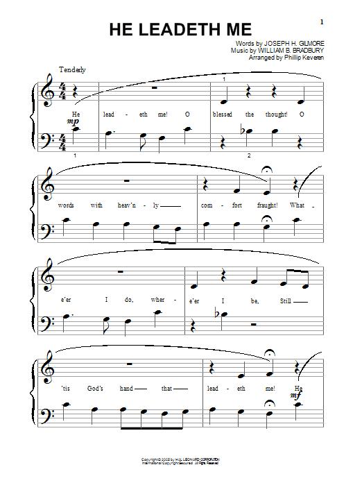 Partition piano He Leadeth Me de Joseph H. Gilmore - Piano Facile