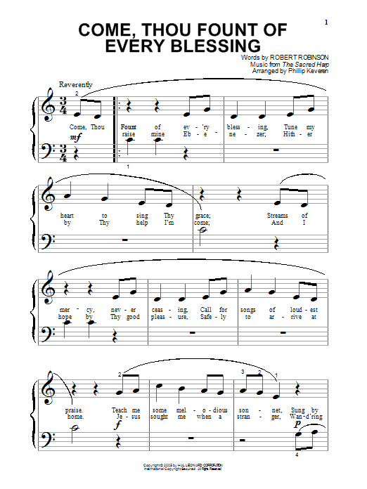 Partition piano Come, Thou Fount of Every Blessing de Robert Robinson - Piano Facile