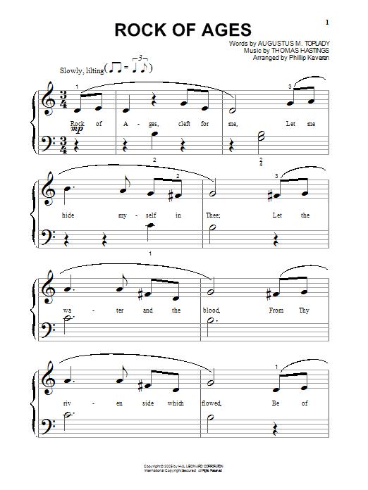 Partition piano Rock Of Ages de Augustus M. Toplady - Piano Facile