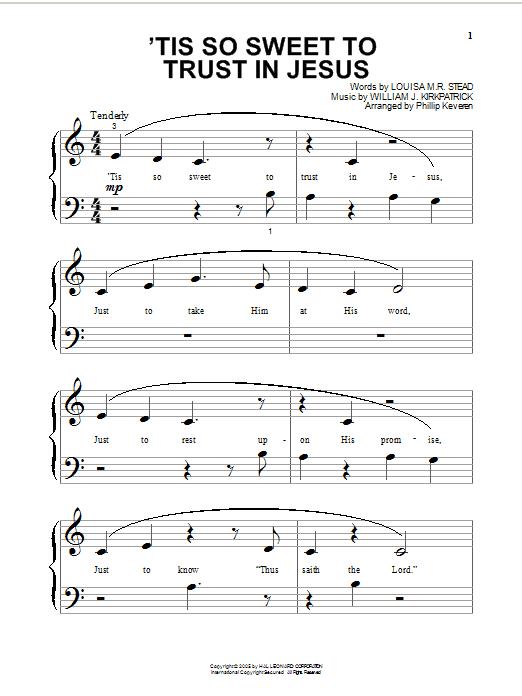 Partition piano 'Tis So Sweet To Trust In Jesus de Louisa M.R. Stead - Piano Facile