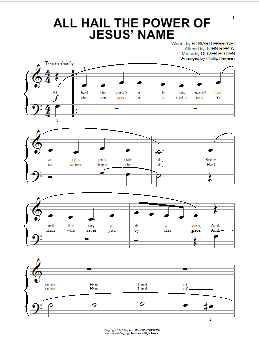 Partition piano All Hail The Power Of Jesus' Name de Edward Perronet - Piano Facile