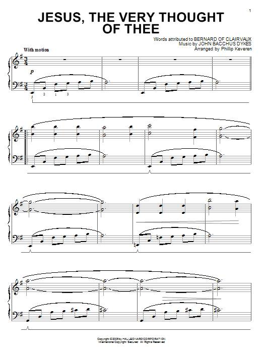 Partition piano Jesus, The Very Thought Of Thee de Bernard of Clairvaux - Piano Solo