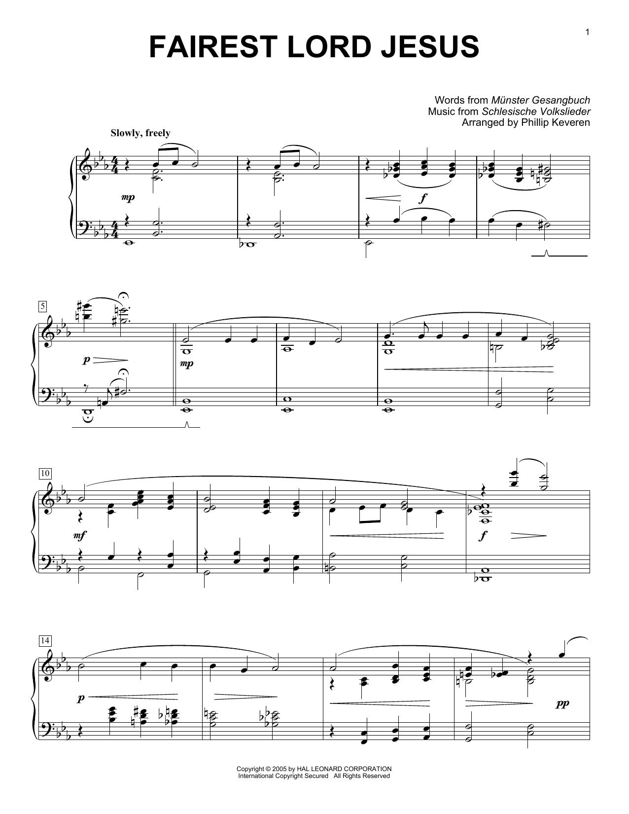 Partition piano Fairest Lord Jesus de Joseph August Seiss - Piano Solo