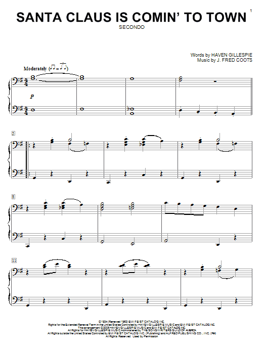 Santa Claus Is Comin' To Town sheet music for piano four hands (duets) by Haven Gillespie