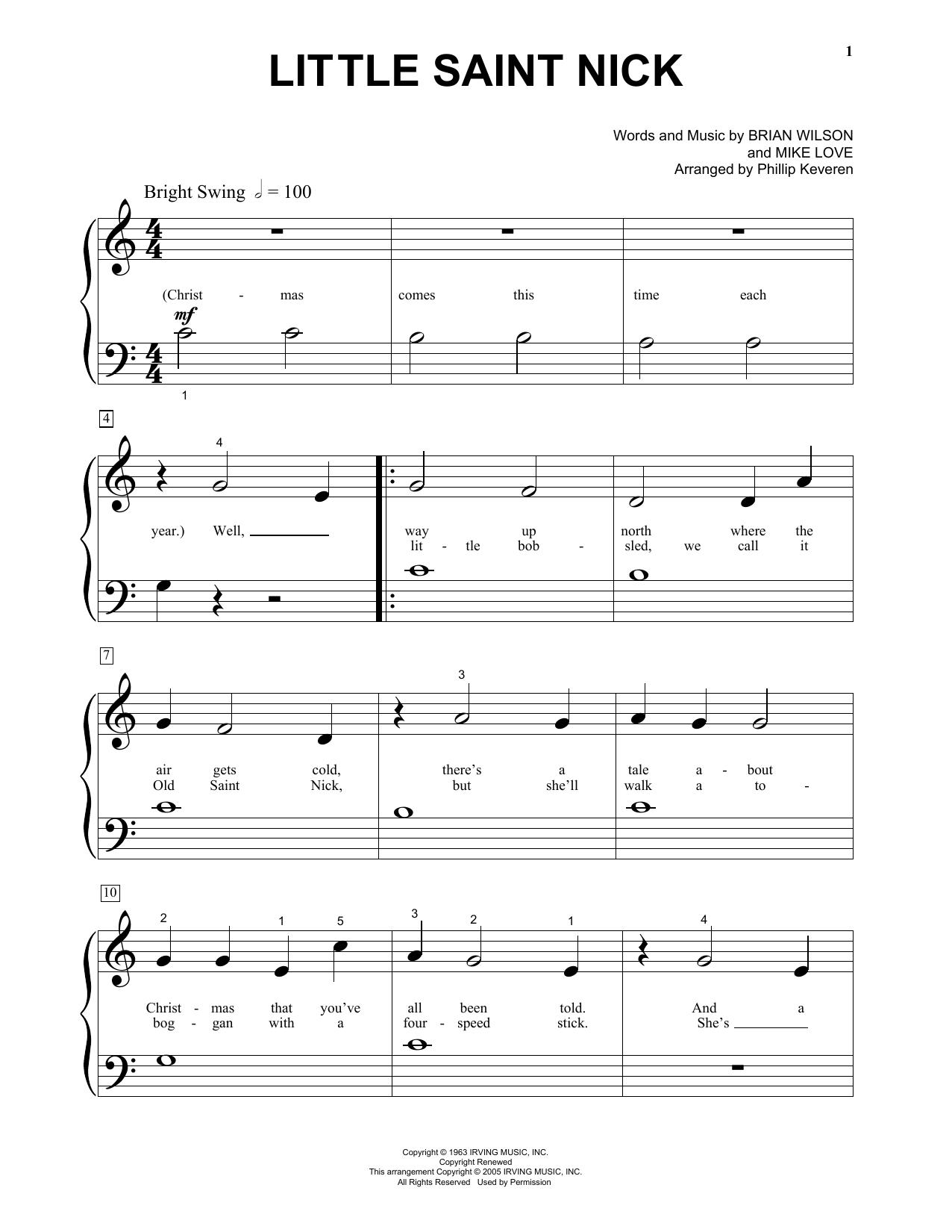 Partition piano Little Saint Nick de The Beach Boys - Piano Facile