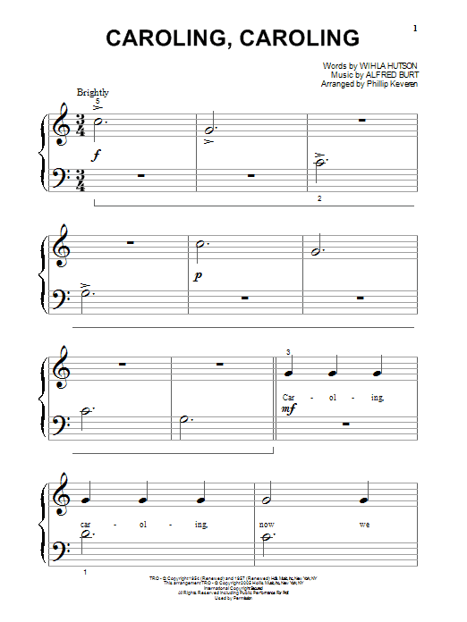 Partition piano Caroling, Caroling de Wihla Hutson - Piano Facile