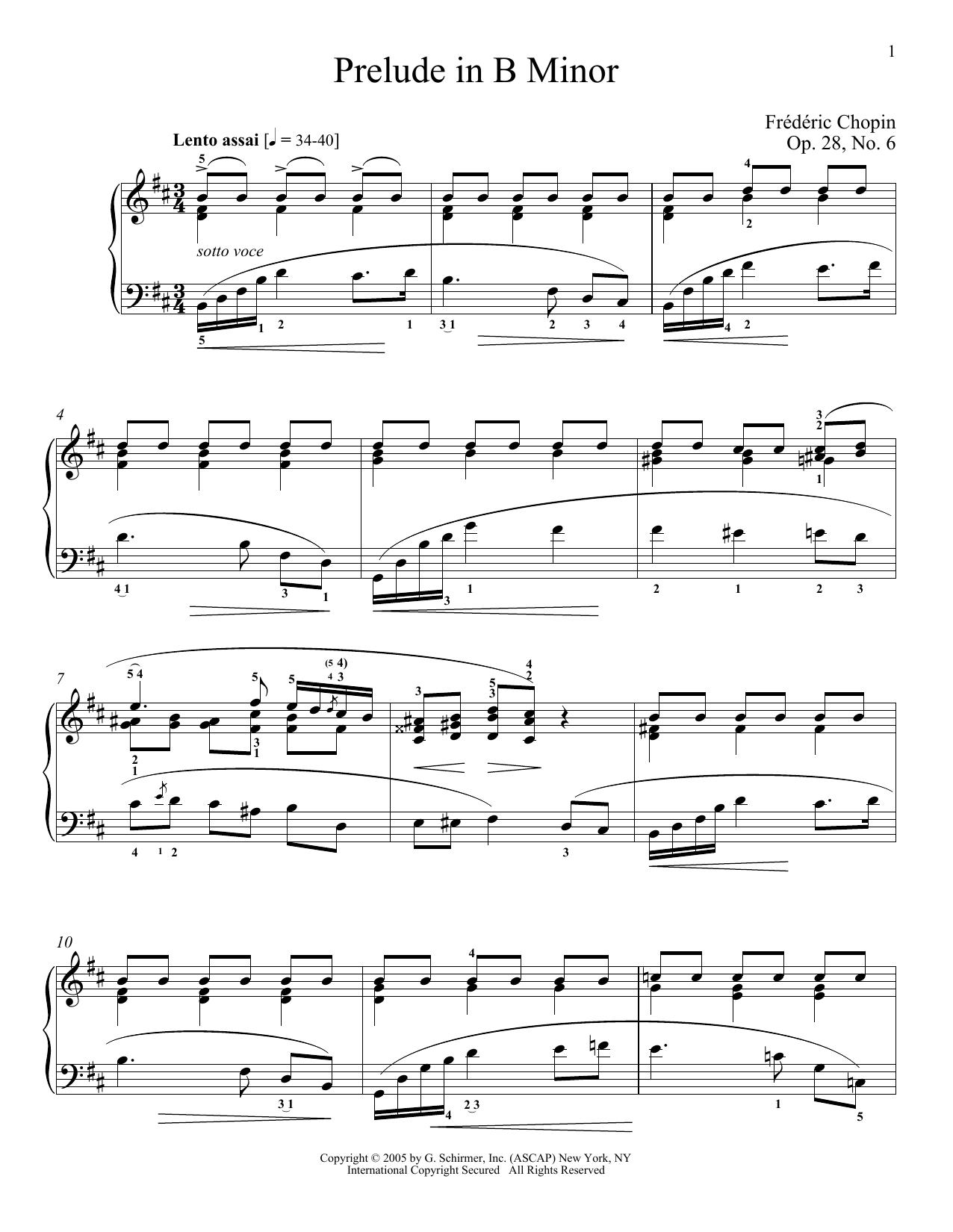 Partition piano Prelude in B Minor, Op.28, No.6 de Frederic Chopin - Piano Solo