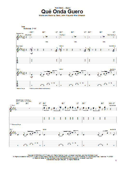 Tablature guitare Que' Onda Guero de Beck - Tablature Guitare