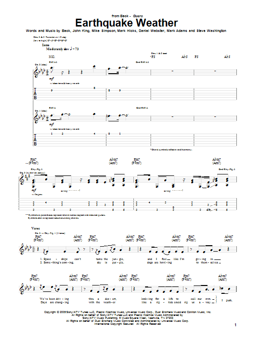 Tablature guitare Earthquake Weather de Beck - Tablature Guitare