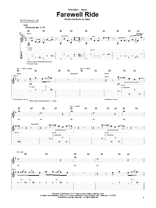 Tablature guitare Farewell Ride de Beck - Tablature Guitare