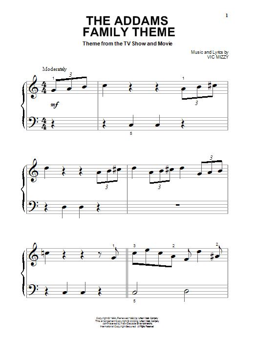 Partition piano The Addams Family Theme de Vic Mizzy - Piano Facile