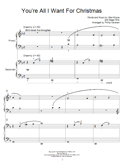 You're All I Want For Christmas sheet music for piano four hands (duets) by Seger Ellis