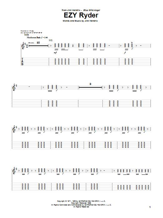 Tablature guitare EZY Ryder (Live) de Jimi Hendrix - Tablature Guitare