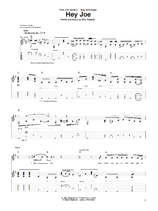 Tablature guitare Hey Joe de Jimi Hendrix - Tablature Guitare