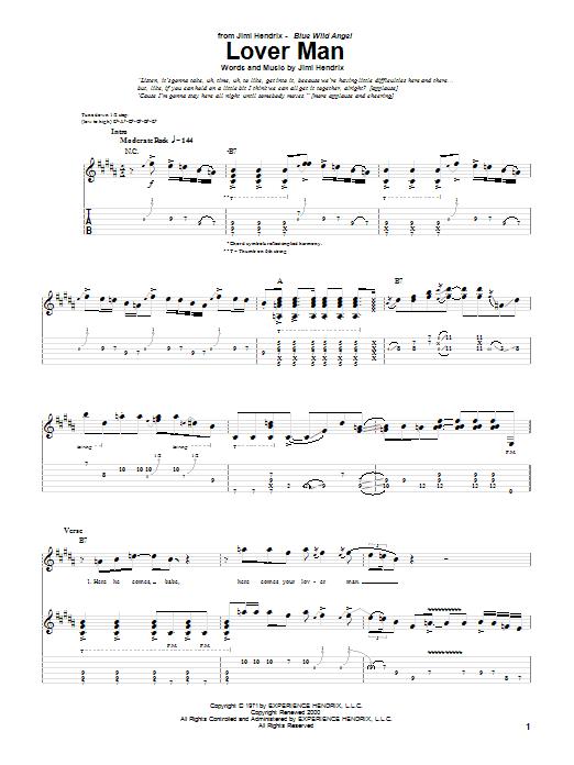 Tablature guitare Lover Man (Live) de Jimi Hendrix - Tablature Guitare