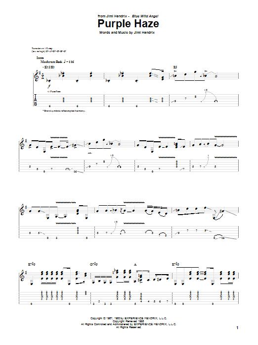Tablature guitare Purple Haze (Live) de Jimi Hendrix - Tablature Guitare