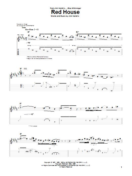 Tablature guitare Red House (Live) de Jimi Hendrix - Tablature Guitare