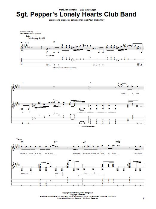 Tablature guitare Sgt. Pepper's Lonely Hearts Club Band (Live) de Jimi Hendrix - Tablature Guitare