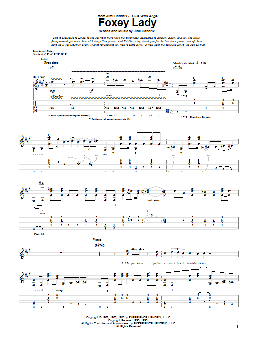 Tablature guitare Foxy Lady (Live) de Jimi Hendrix - Tablature Guitare