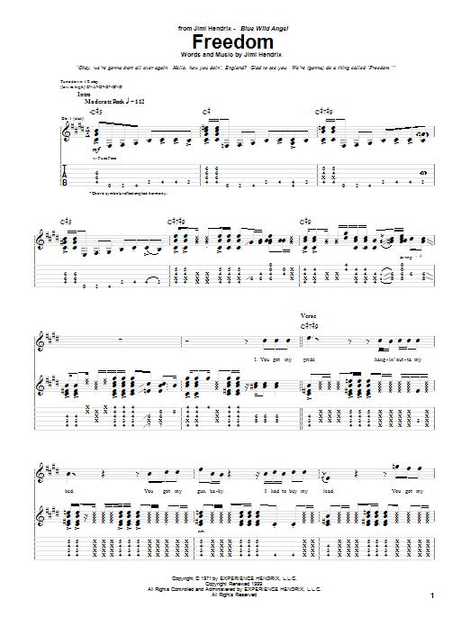 Tablature guitare Freedom (Live) de Jimi Hendrix - Tablature Guitare