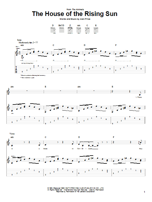 Tablature guitare The House Of The Rising Sun de The Animals - Tablature Guitare
