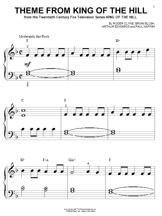 Partition piano Theme From King Of The Hill de Roger Clyne - Piano Facile