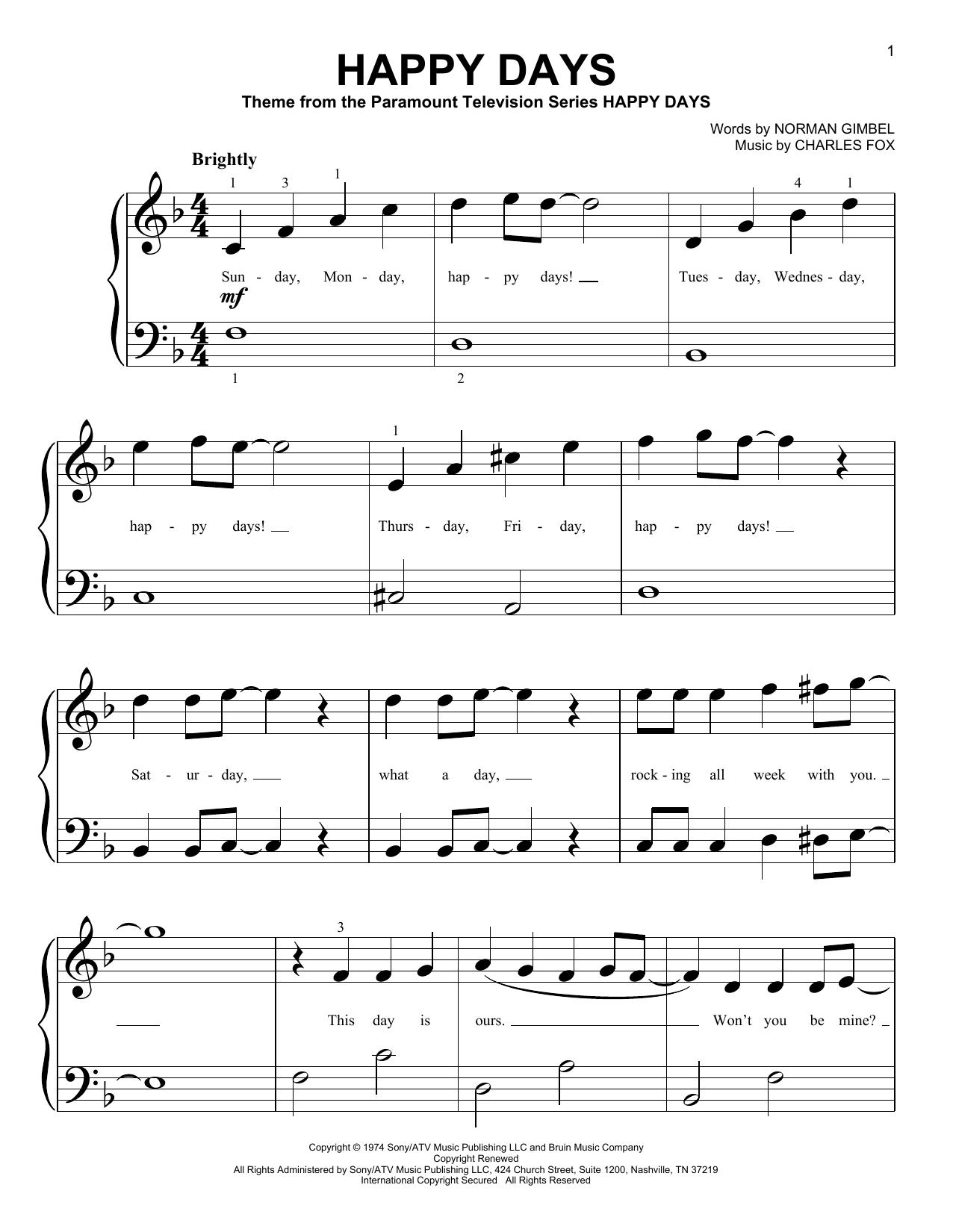 Partition piano Happy Days de Pratt and McClain - Piano Facile