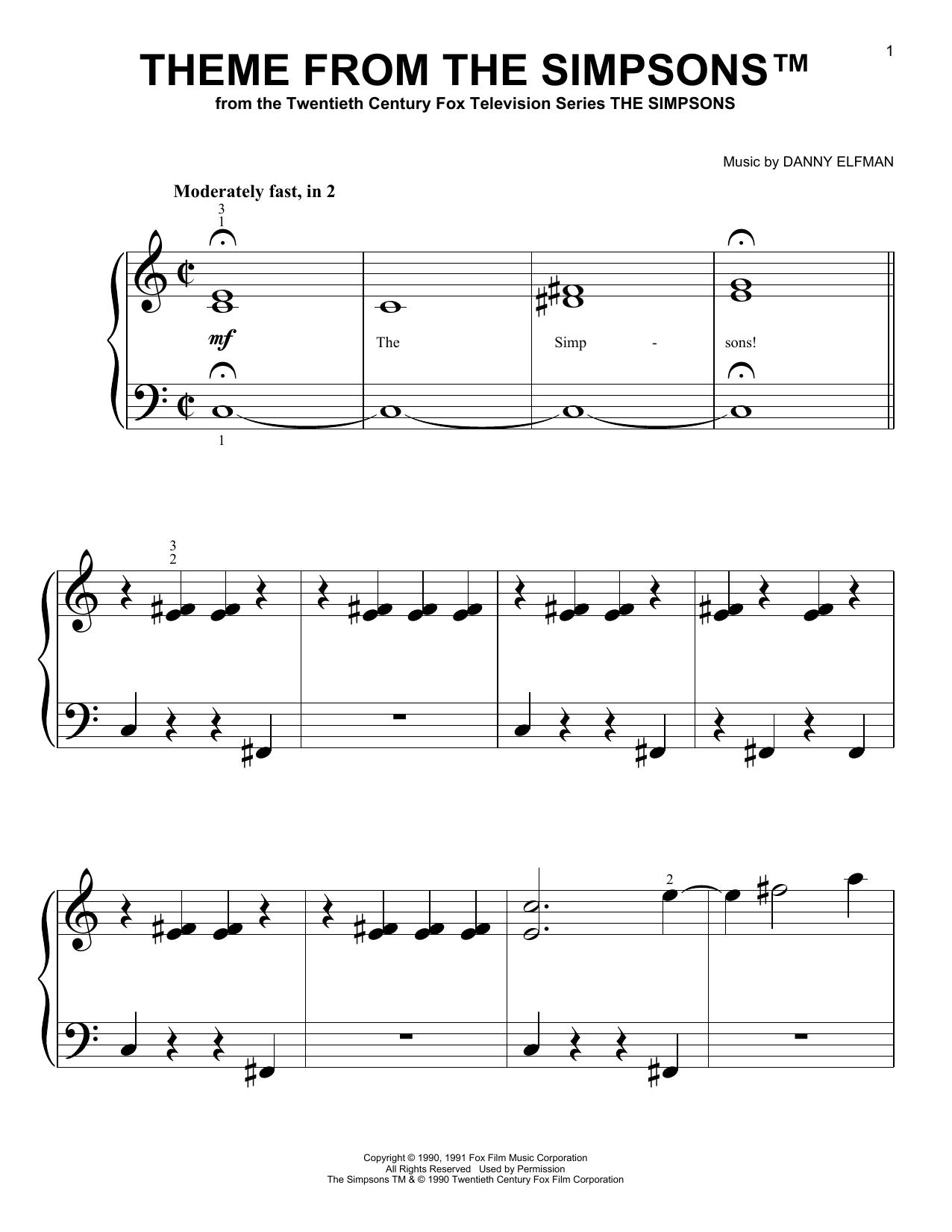 Partition piano Theme From The Simpsons de Danny Elfman - Autre