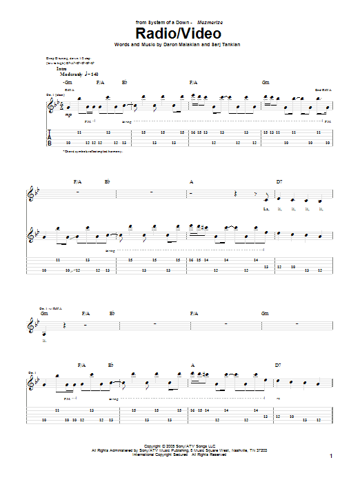 Radio/Video sheet music for guitar solo (tablature) by Serj Tankian
