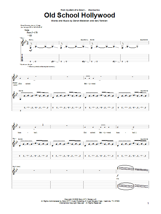 Tablature guitare Old School Hollywood de System Of A Down - Tablature Guitare