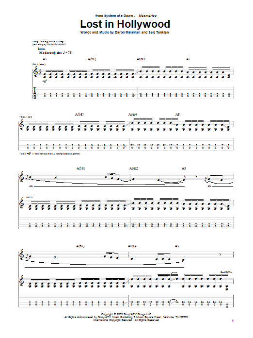 Tablature guitare Lost In Hollywood de System Of A Down - Tablature Guitare